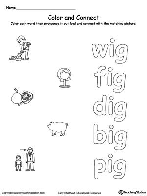 ig word family color and match  words word families and phonics  &