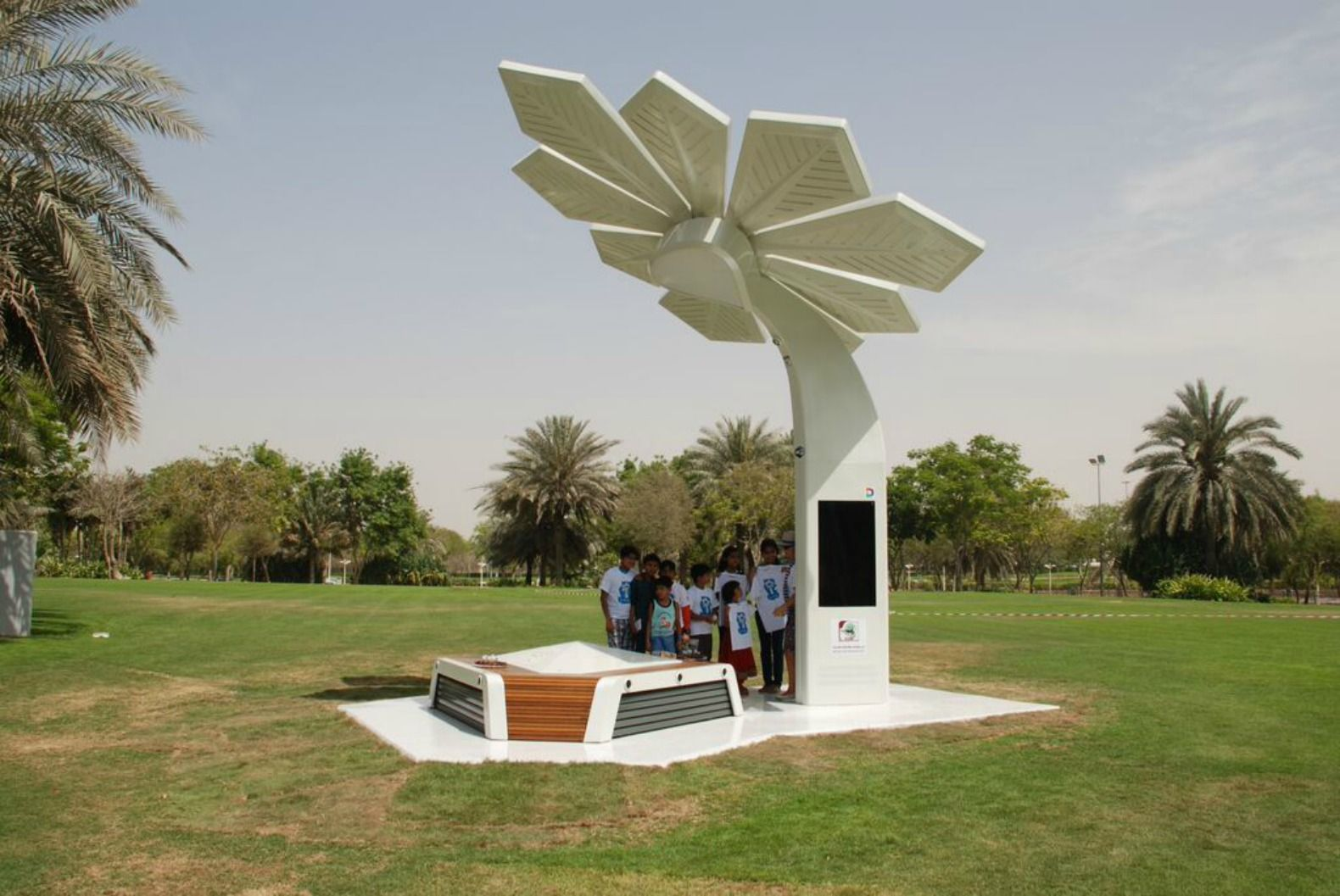 Solar-powered Smart Palms in Dubai offer beach goers wifi and charging stations
