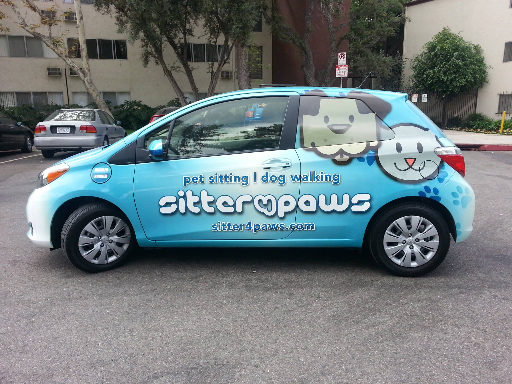 Sitter 4 Paws Los Angeles Car Wrap Dog Grooming Pet Taxi Mobile Pet Grooming