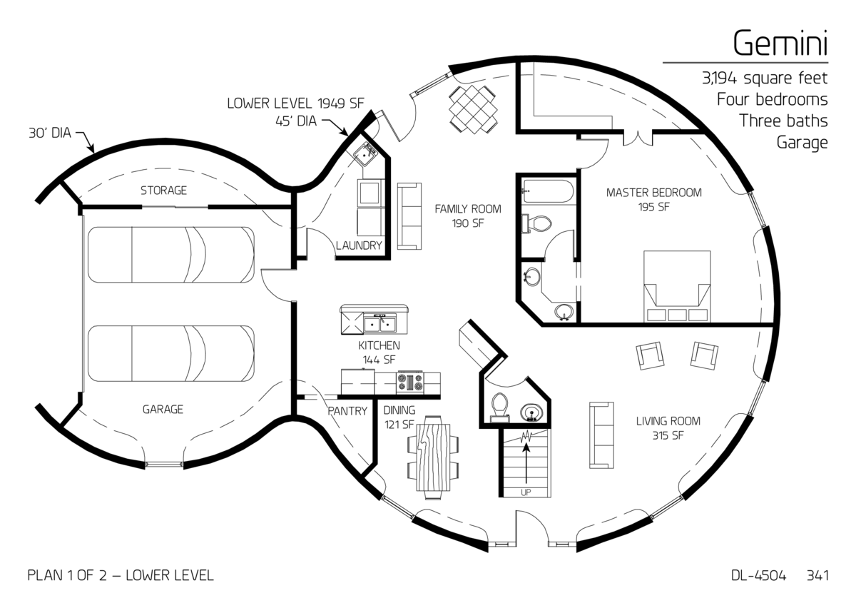 Two floor round home with garage alternative homes for Circular house plans