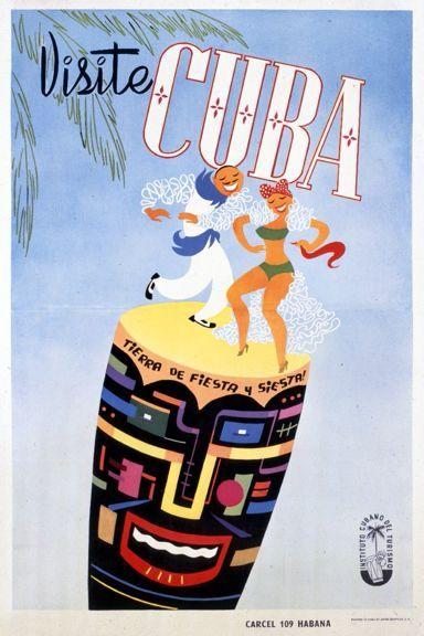 Visite Cuba - Tierra del Fiesta y Siesta! Cuba c. 1958 - Vintage Poster (Art Print Available) #visitcuba