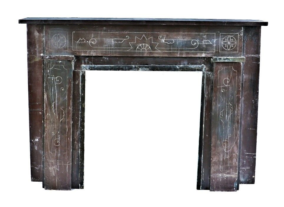 mid to late 1870's salvaged chicago interior residential faux marble finish  american victorian era slate fireplace - Mid To Late 1870's Salvaged Chicago Interior Residential Faux