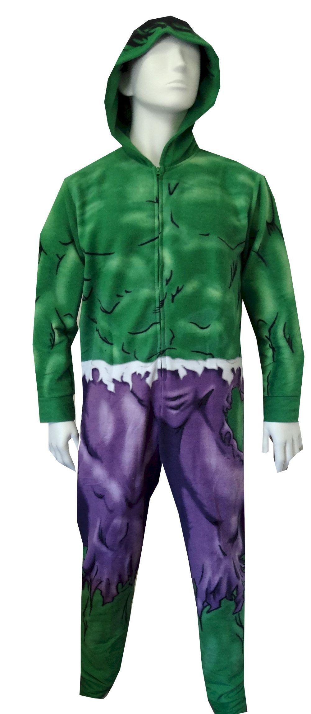 48baacf8a WebUndies.com The Incredible Hulk Hooded Fleece Onesie Pajama ...