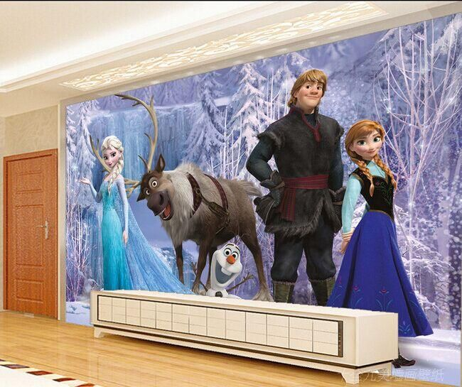 Cheap dibujos animados custcomized 3d papel tapiz mural for Cuartos para ninas frozen