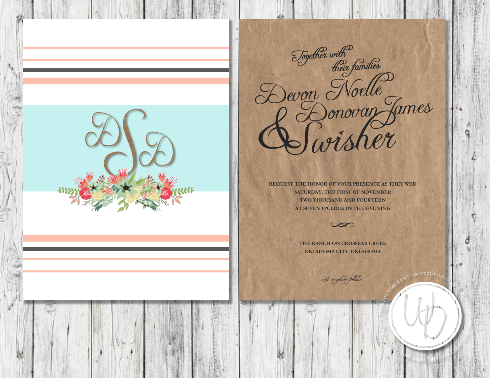 Rustic brown paper floral wedding invitation by wentroth designs rustic brown paper floral wedding invitation by wentroth designs visit us on facebook to request stopboris Images