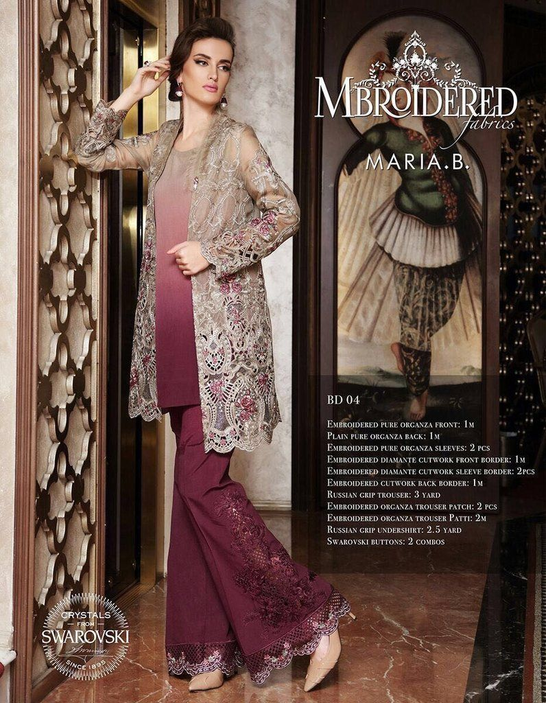 b51b7be6cc Pakistani Chiffon Maria B Gown Dress Work Embellished with Embroidery Online  at Nameera by Farooq, Visit Now : www.NameerabyFarooq.com or Call /  Whatsapp ...