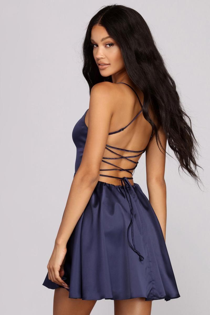 Sonya Satin Dress In 2021 Cute Short Dresses Dresses Elegant Party Dresses [ 1200 x 800 Pixel ]