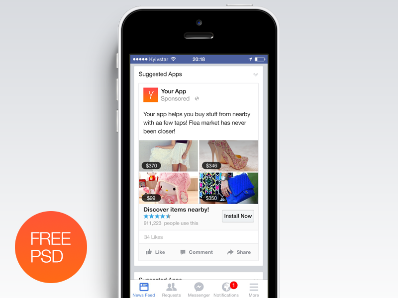 Facebook Ad [Free PSD] | App, Behance and Marketing
