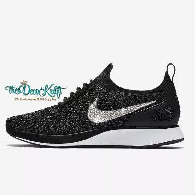 Womens Nike Air Zoom Mariah Flyknit Racer Black Dark Grey White Swarovski  Crystal Bling Sneakers e30a4f06b