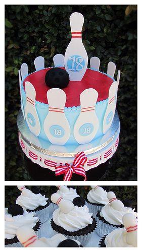 Bowling Pin cake and cupcakes | Flickr - Photo Sharing!