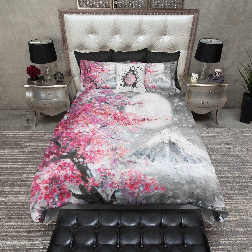 Photo of Japanese Watercolor Sakura Landscape Bedding