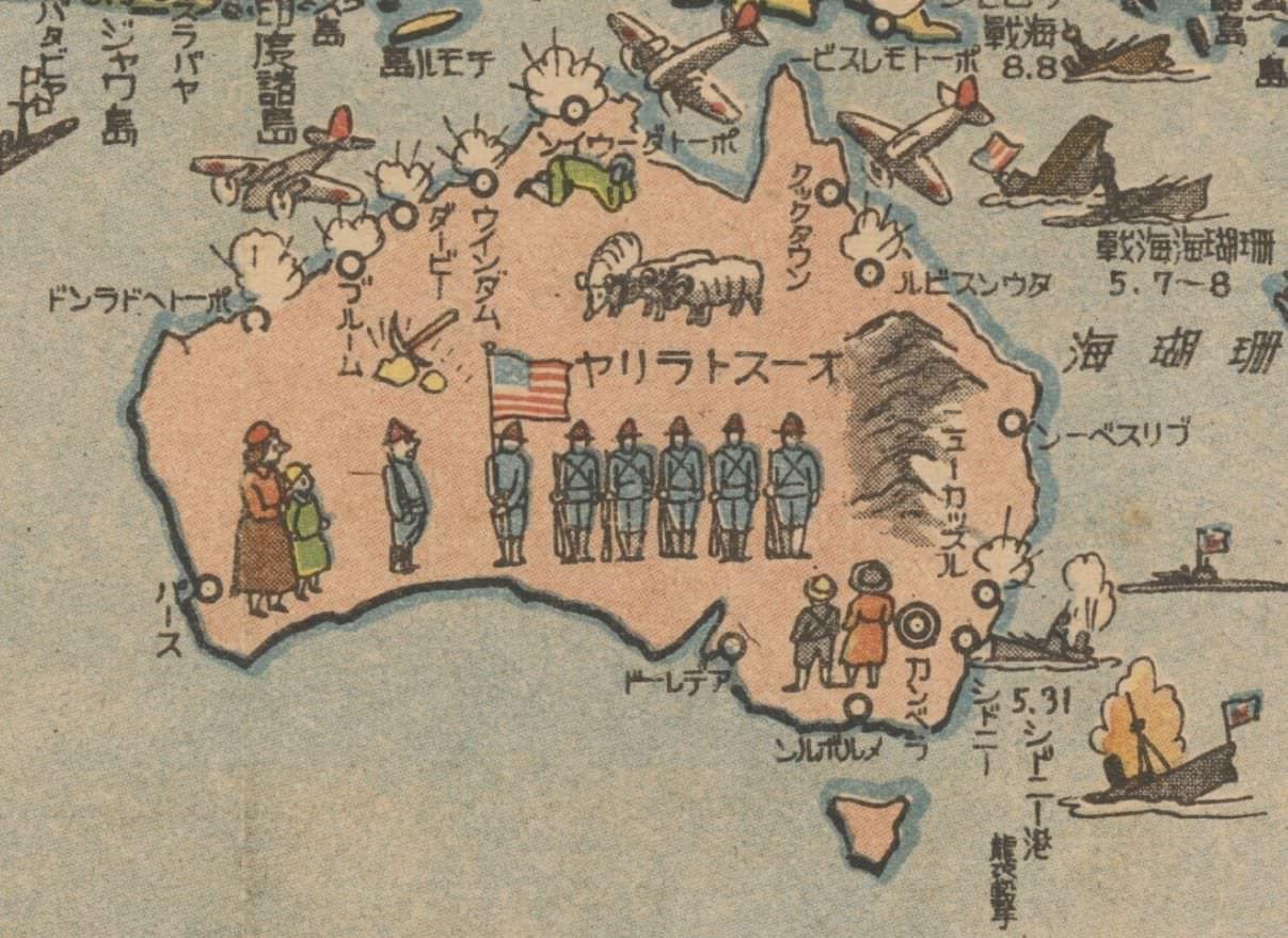World war 2 japanese pictorial map of australia maps of world war 2 japanese pictorial map of australia gumiabroncs Choice Image