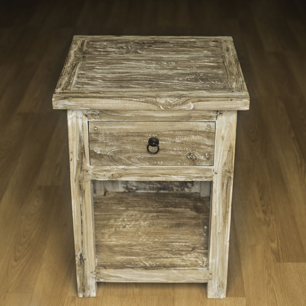 Reclaimed Teak Cantina Bed Side Table (Indonesia) - Overstock ...