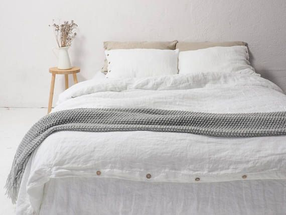 Pure White LINEN DUVET COVER Custom Size Queen Size Bedding. Pościel Lniana  By So Linen
