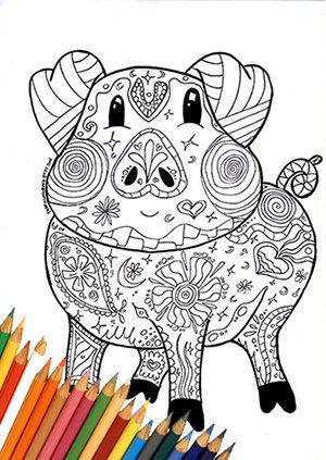 Coloring Page Pig By FarfallaDorata