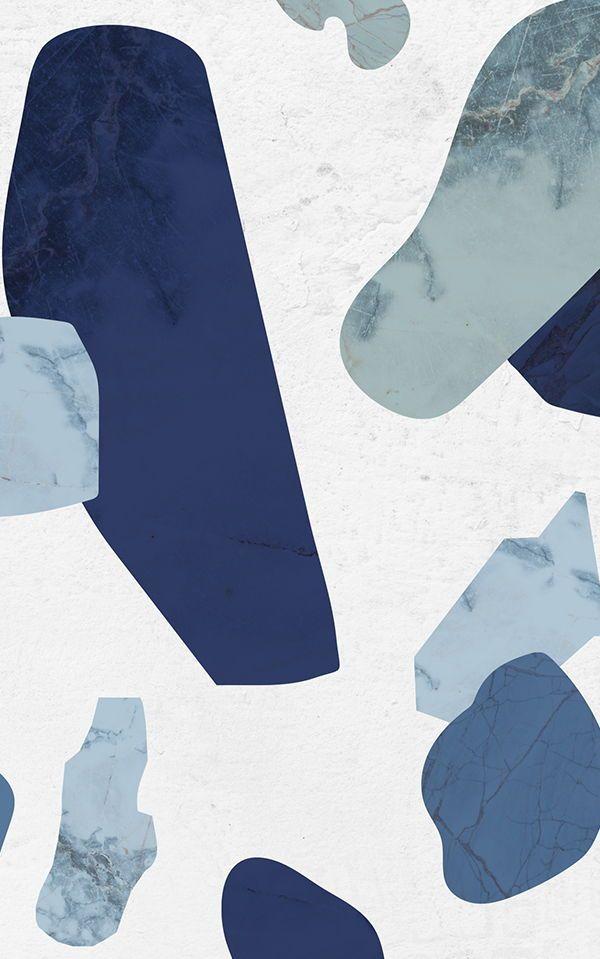 Blue Marble Terrazzo Wallpaper Mural