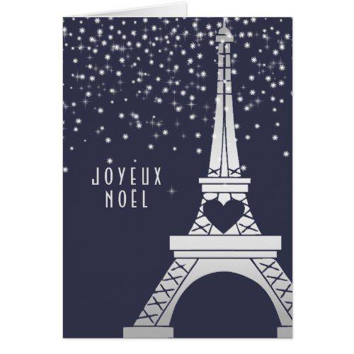 Paris Christmas Eiffel Tower with Snow at Night Card | Paris ...