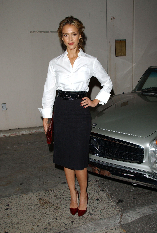 c096609e6d Jessica Alba in crisp white blouse, black pencil skirt, and dark red heels