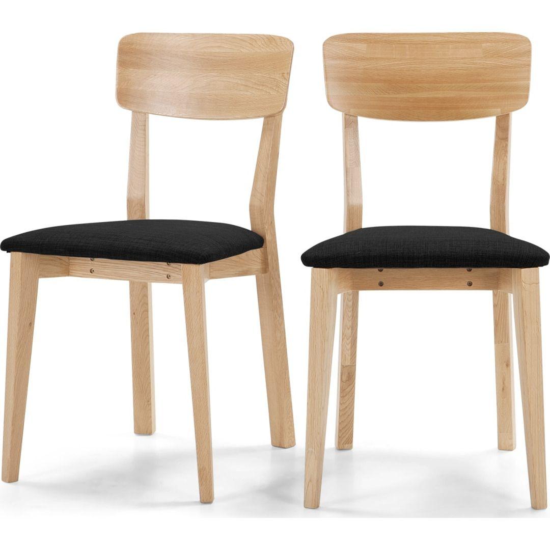 2 x Jenson Esszimmerstühle, Dunkelgrau und Eiche