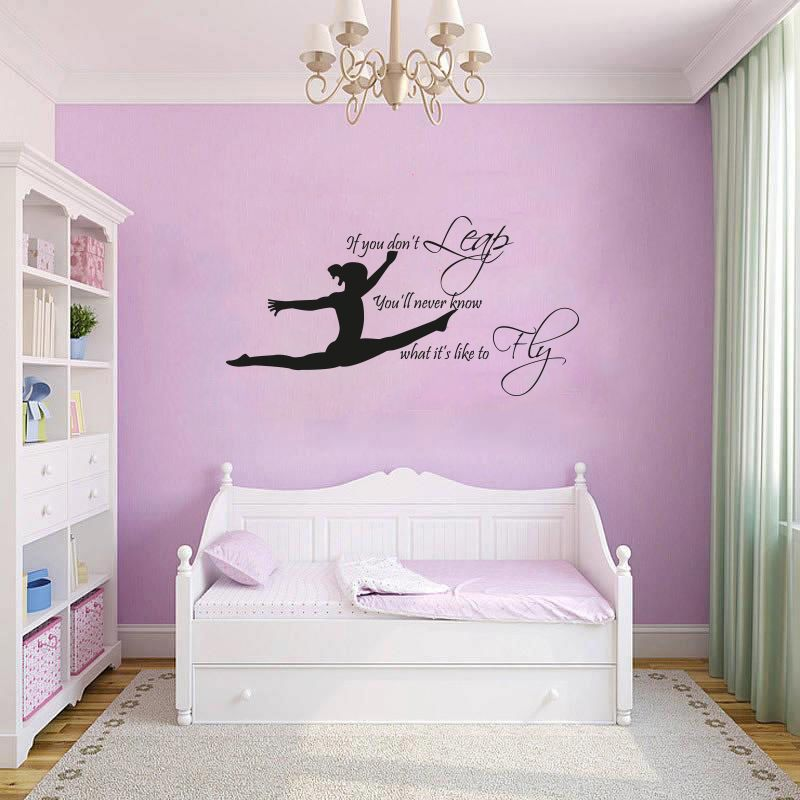 gymnast gymnastic girls bedroom quote vinyl wall art on wall stickers for bedroom id=78198