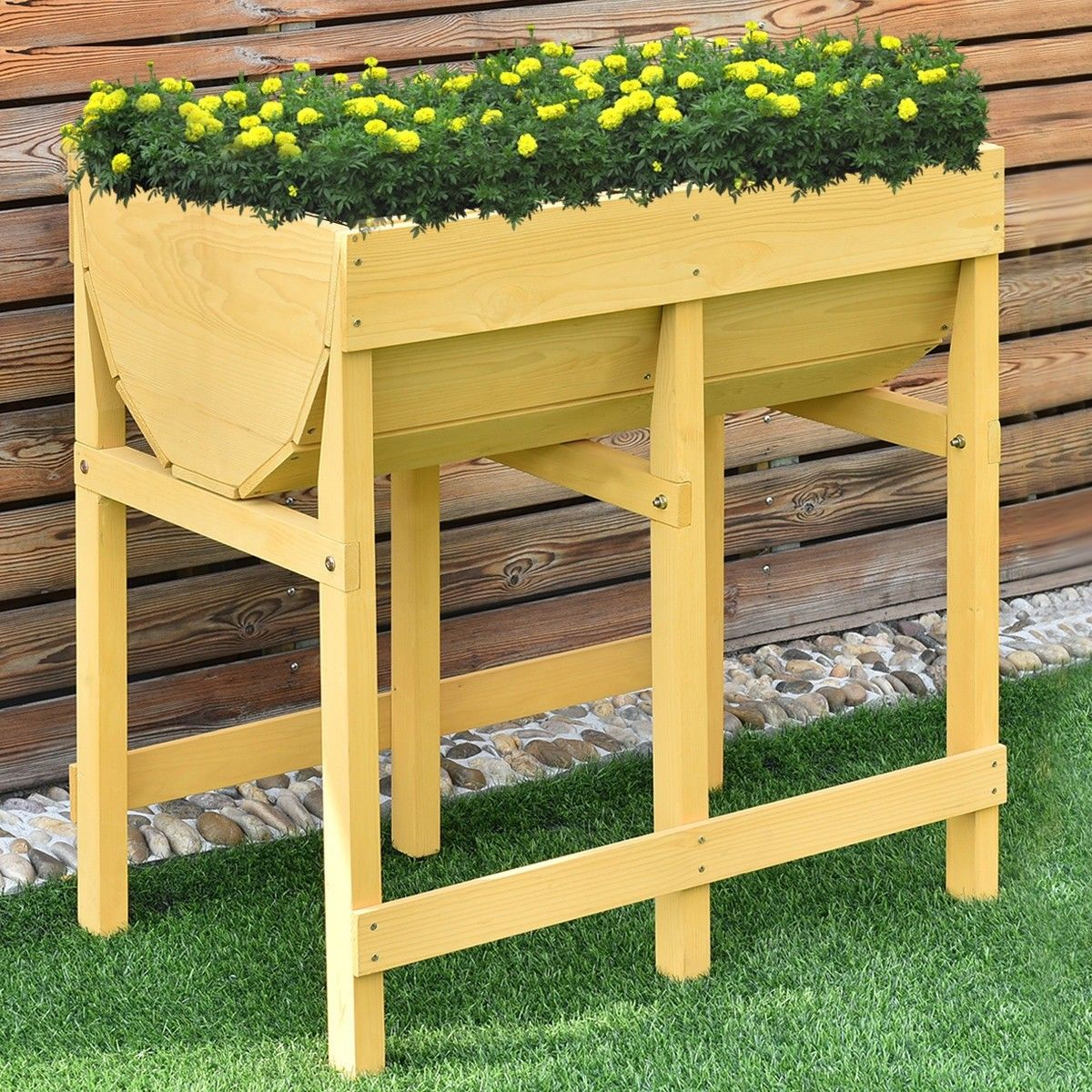 Raised Wooden Planter Vegetable Flower Bed with Liner