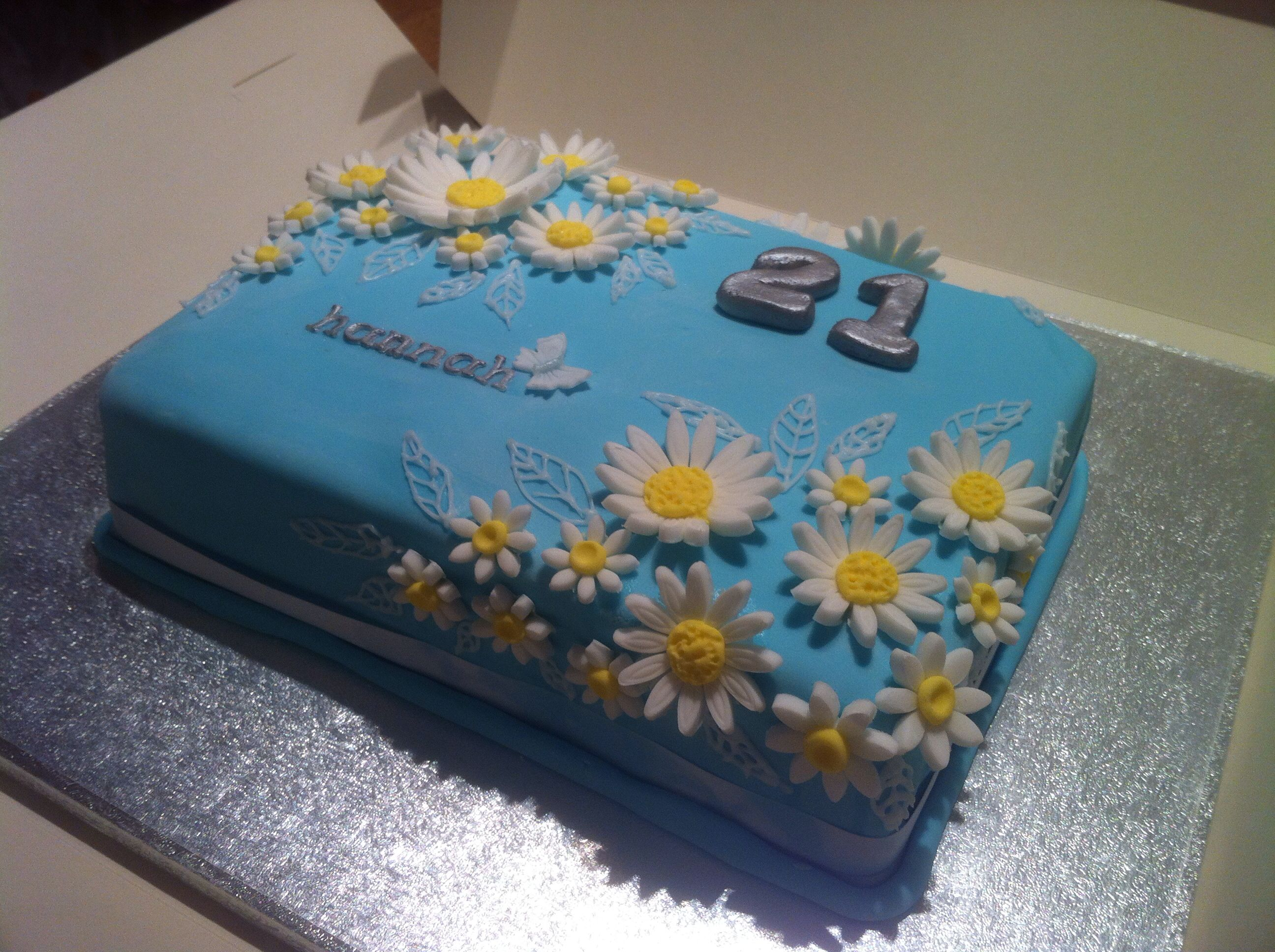21st birthday cake Tiffany blue colour with white daisies