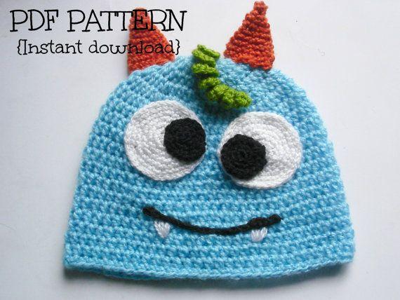 Crochet Monster Hat Pattern Crochet Hat Pattern Baby Hat Pattern