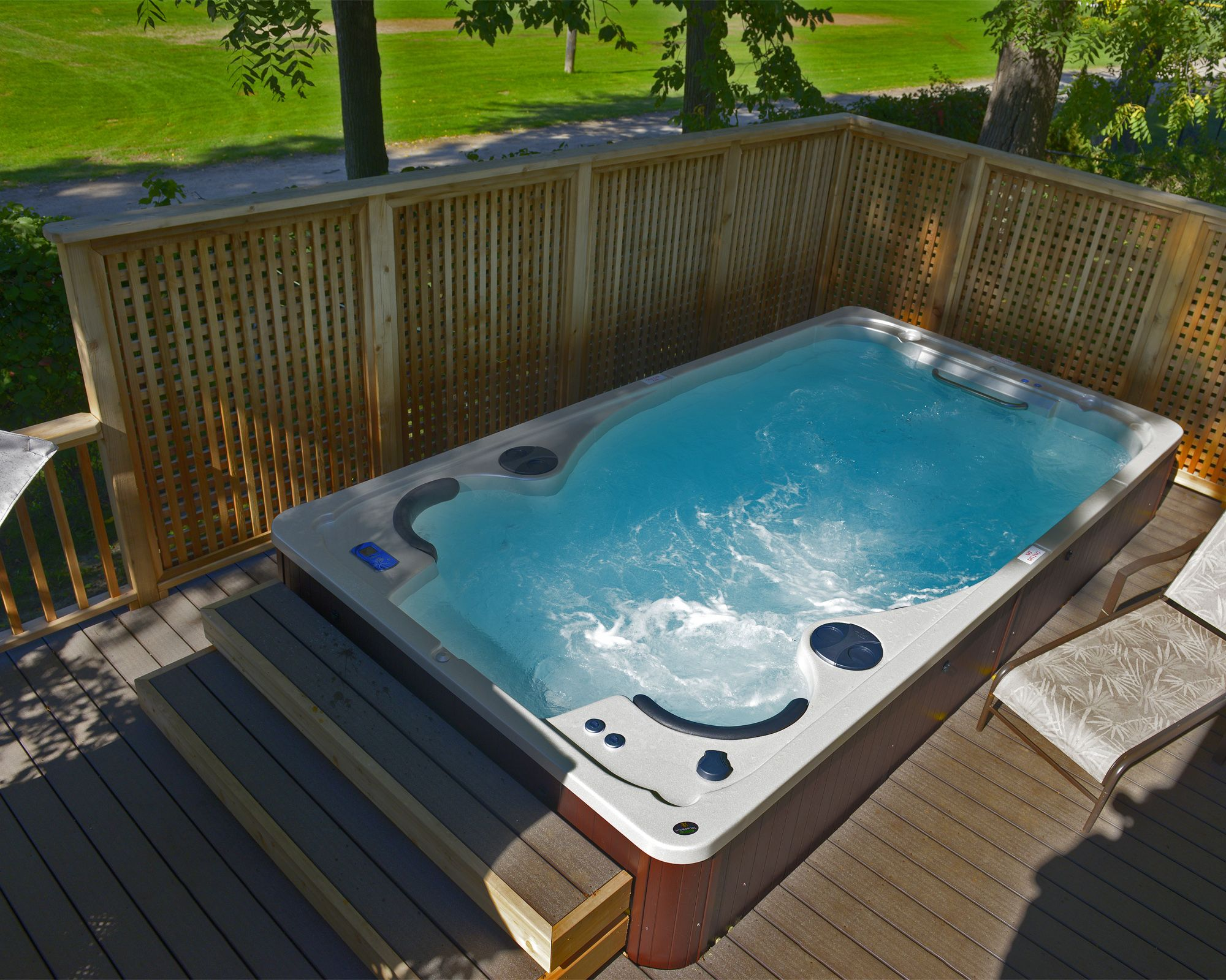 Hydropool Self Cleaning Swim Spa Installed In A Deck Swim Spa