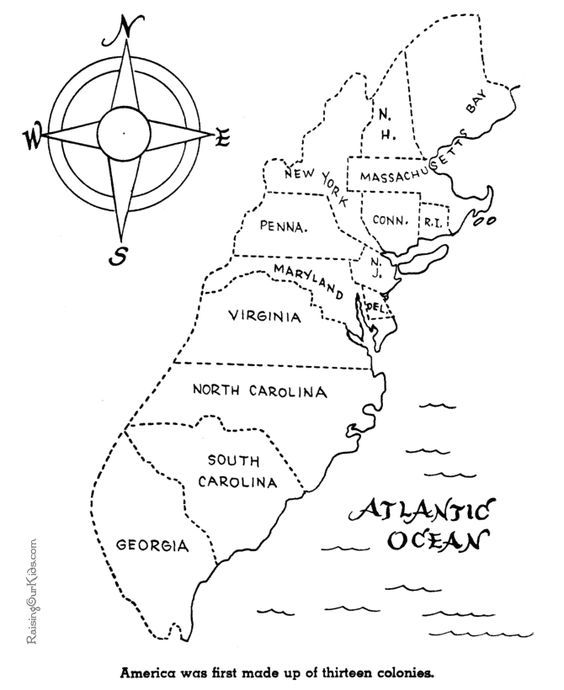 The Thirteen Colonies History Coloring Pages For Kid 026 13