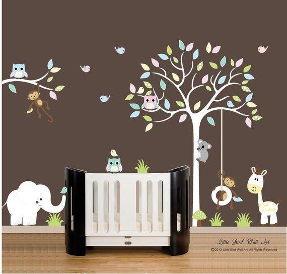 Kinder WandAufkleber Kinderzimmer weiß Baum Wand