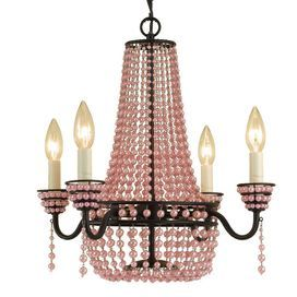 """Beaded mini chandelier.Product: Mini chandelier    Construction Material: Metal and plastic    Color: Pink   Features:   A wealth of glittering pink pendants adorns a classic candelabra-style silhouette    Ushers shimmering light and romantic, feminine style to your home decor    Accommodates: (4) 60 Watt candelabra base bulbs - not included   Dimensions: 18"""" H x 18"""" Diameter"""