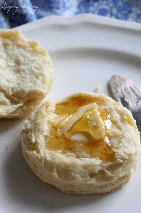 Homemade biscuits with butter and honey!