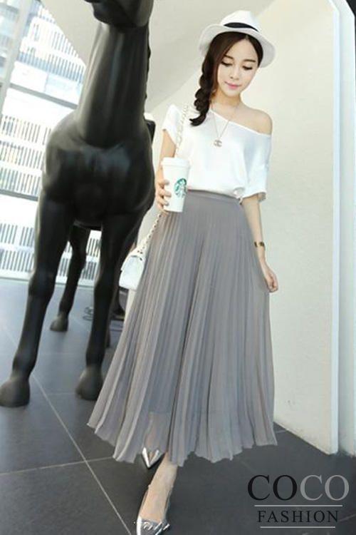 grey maxi long pleated chiffon korean fashionable skirt