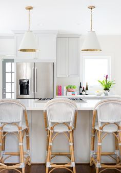 White Kitchen With Pendant Lights And Serena Lily Counter Stools - Kitchens with pendant lights