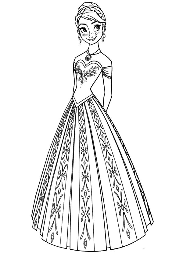 Queen Elsa Sister Princess Anna In Beautiful Dress Coloring Pages Coloring Sky Immagini Disney Disegni Da Colorare Immagini