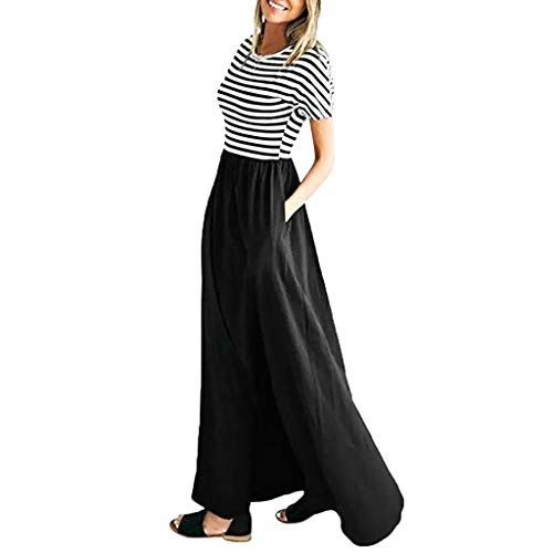 Photo of Hokoaidel Sommerkleid Frauen beiläufige gestreifte Kurzarm Tasche langes Kleid Frauen Casual O-Neck elastische Taille Kurzarm Tunika Kleid mit Taschen Strandkleid