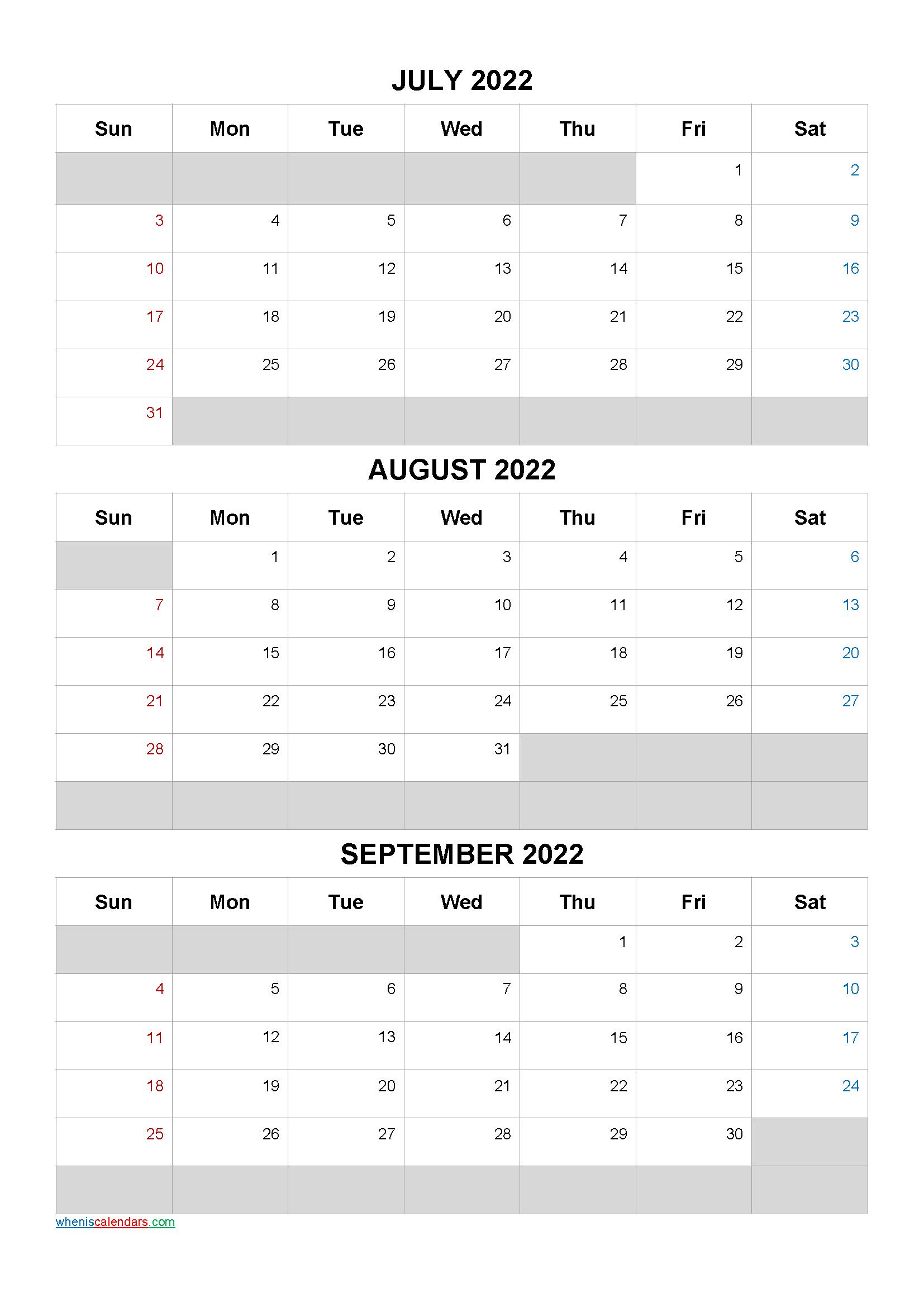 July August September 2022 Calendar Template Q1 Q2 Q3 Q4 In 2020 Calendar Printables Calendar Template 3 Month Calendar