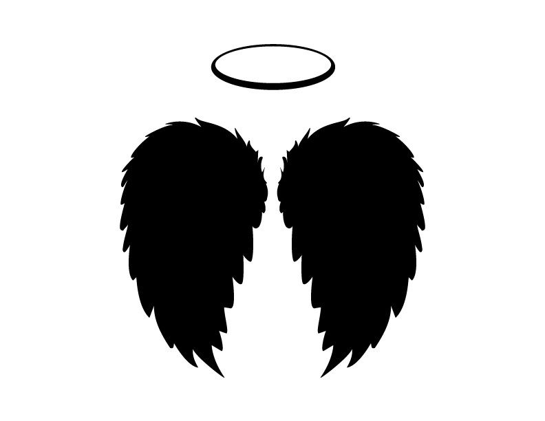 Black angel wings and halo vector png and jpgs included