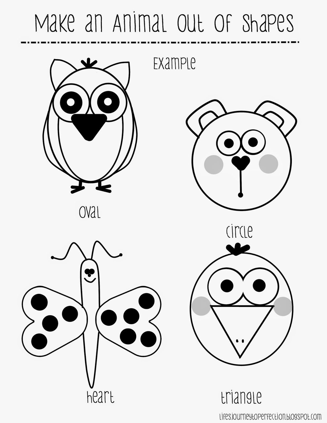 Making Animal Drawings Out Of Shapes Worksheet