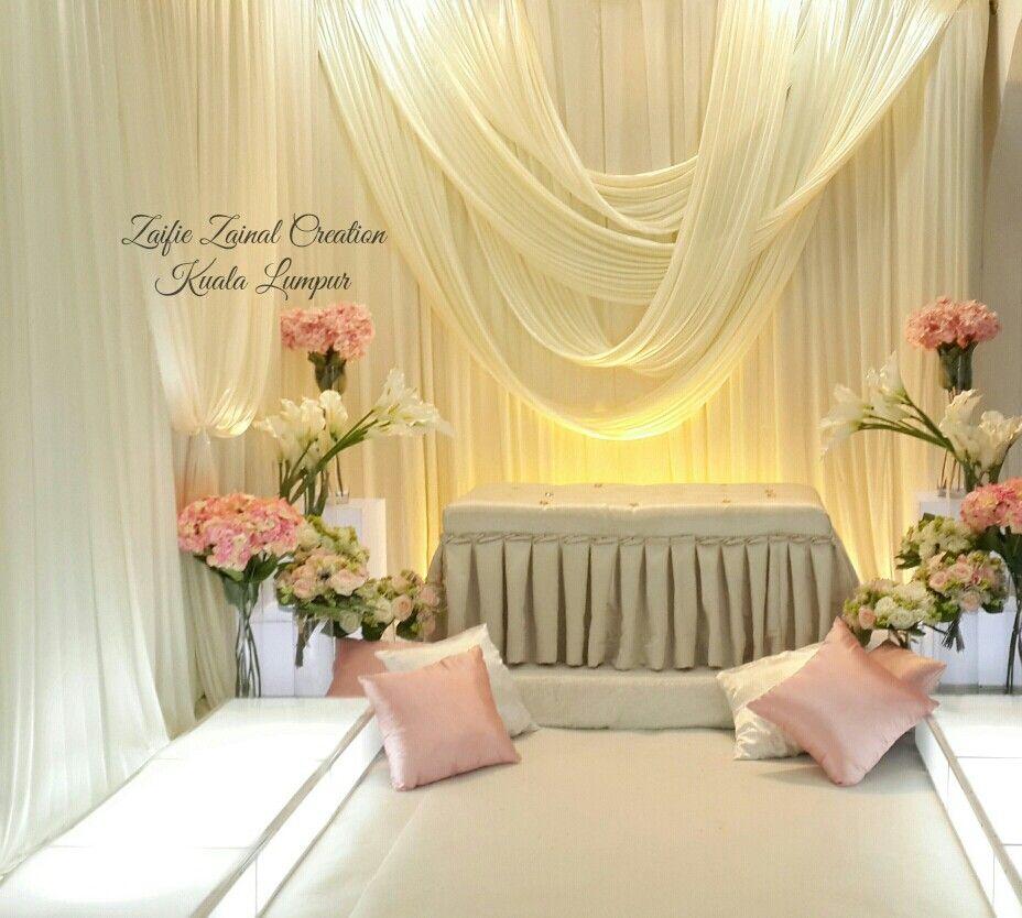 Wedding Nikah Simple Backdrop Decoration Muslim: Pelamin Nikah By ZZCKL. Pink, Off White