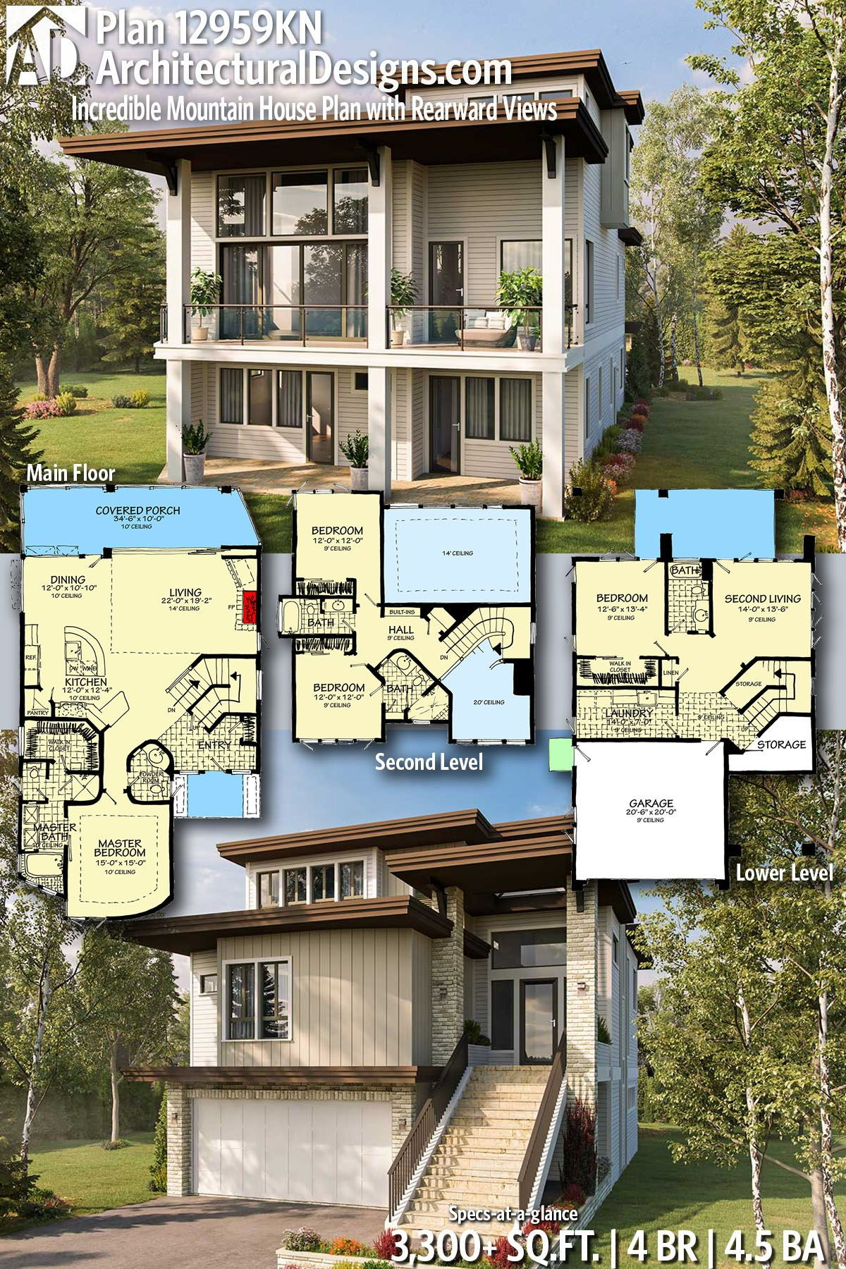 Architectural designs home plan kn gives you bedrooms baths and sq also best homes for the sloping lot images in architecture rh pinterest
