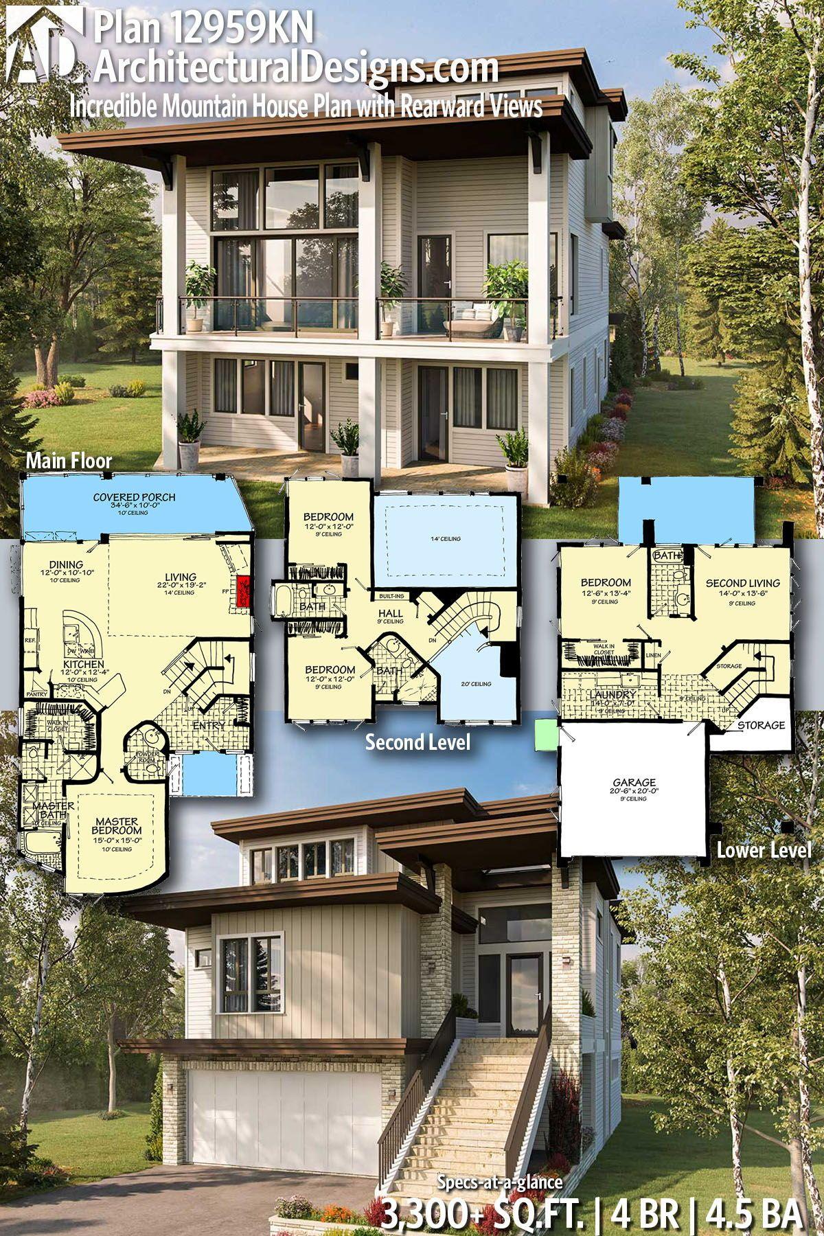 Plan 12959kn Incredible Mountain House Plan With Rearward Views