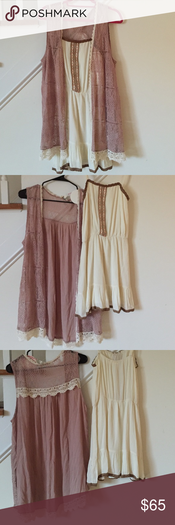 """Dress & Vest Outfit sale 🎀 Buy the outfit! Gorgeous BoHo chic dress and a vest combination. 💕Never wore either. Vest  is a gorgeous Mocha with Ivory lace dear long and crochet trim detail. Length 31"""". NWT. Stunning! 60% cotton and 40% polyester. The dress is beautiful cream color with gorgeous crochet trim along top and bottom. Lined. Ruffle hem. Spaghetti adjustable straps. Bust is about 14.5"""" and length from top of bust 26"""". NWOT 🎀 both are a size small. Layer it up. Pair with…"""