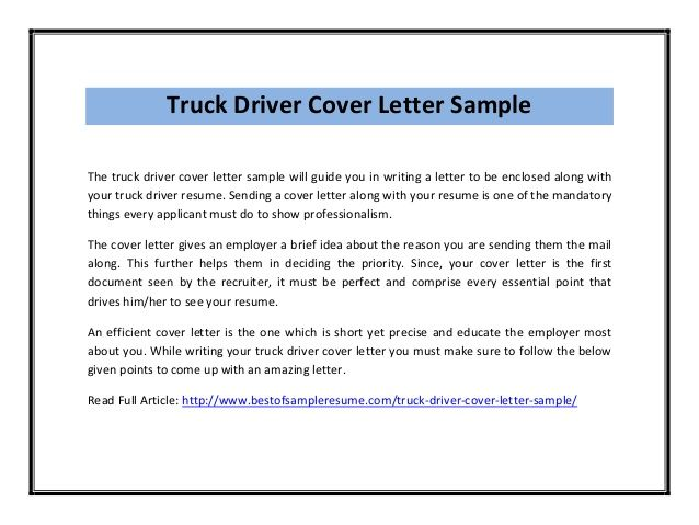 You Find Free Sample Cover Letter Examples Cold Truck Driver