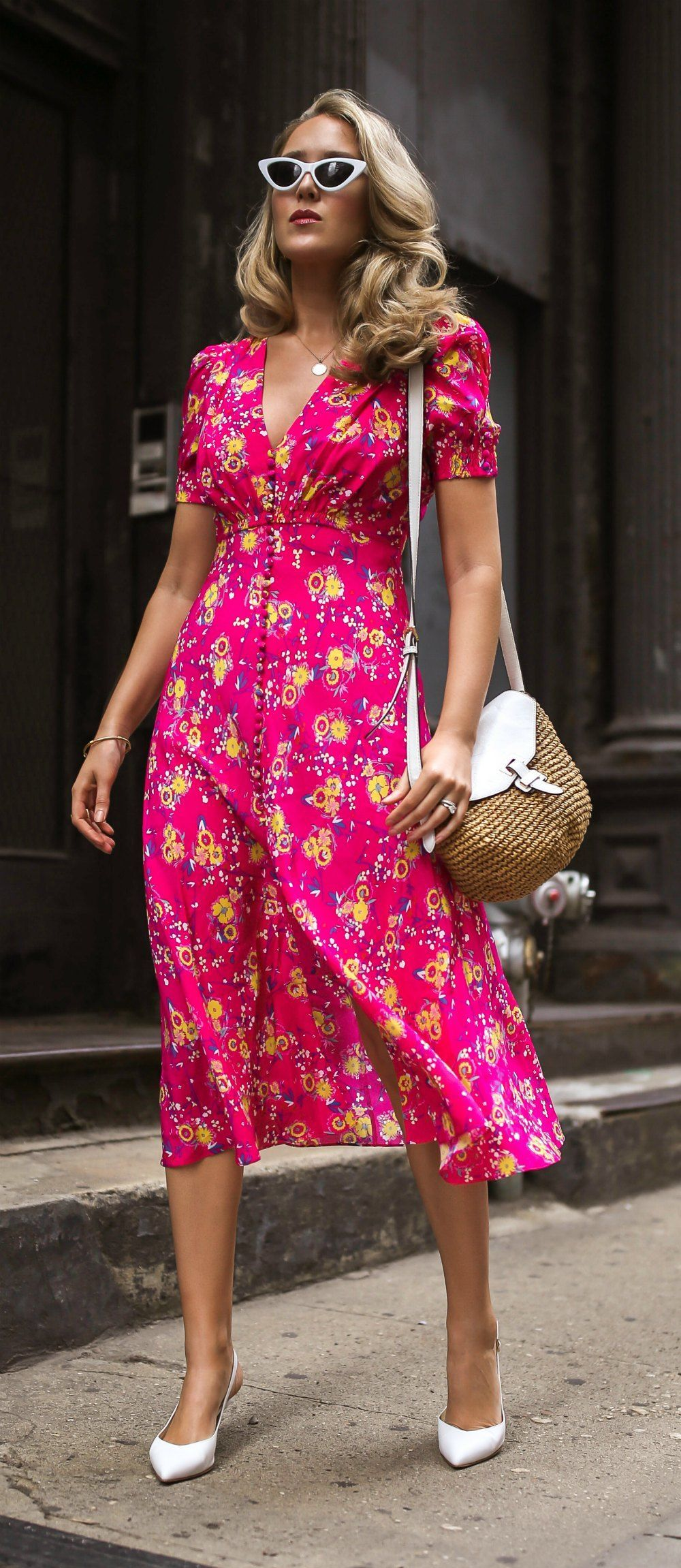 Click for outfit details! // Pink silk floral midi dress with ...