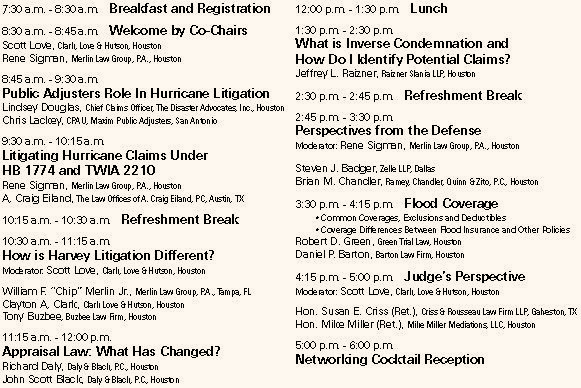 Hurricane Harvey Conference Property Insurance Coverage Law Blog