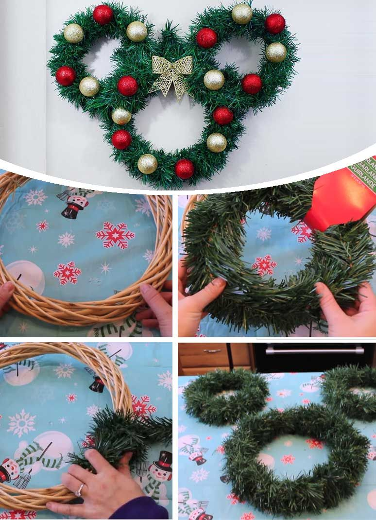 Mickey Mouse Wreath Disney Christmas Crafts Disney Diy Crafts Disney Christmas Decorations