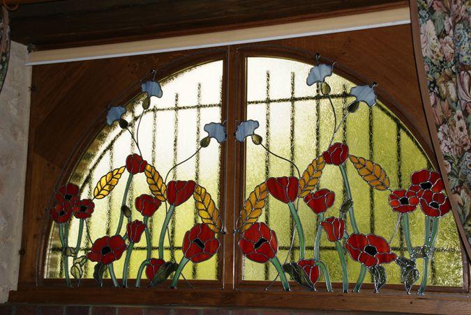 vitraux décoratifs | vitrail champêtre 2mx1m