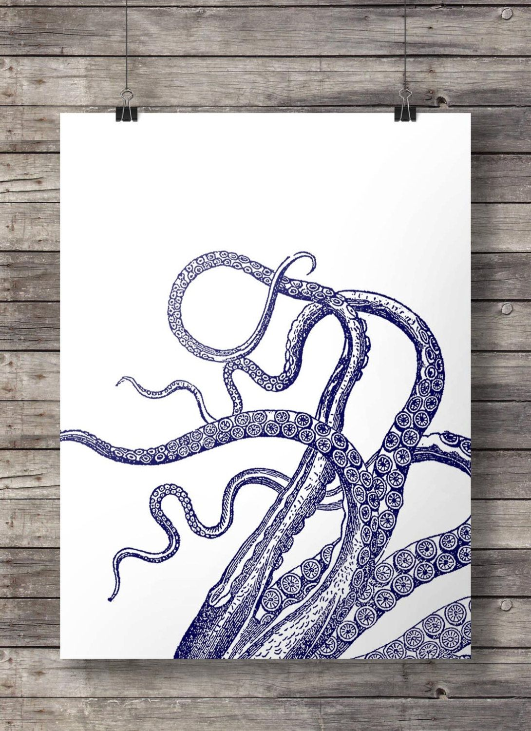 Printable Art | Nautical Octopus Tentacles Print | Nautical Decor |  Printable Kraken Coastal Navy Beach
