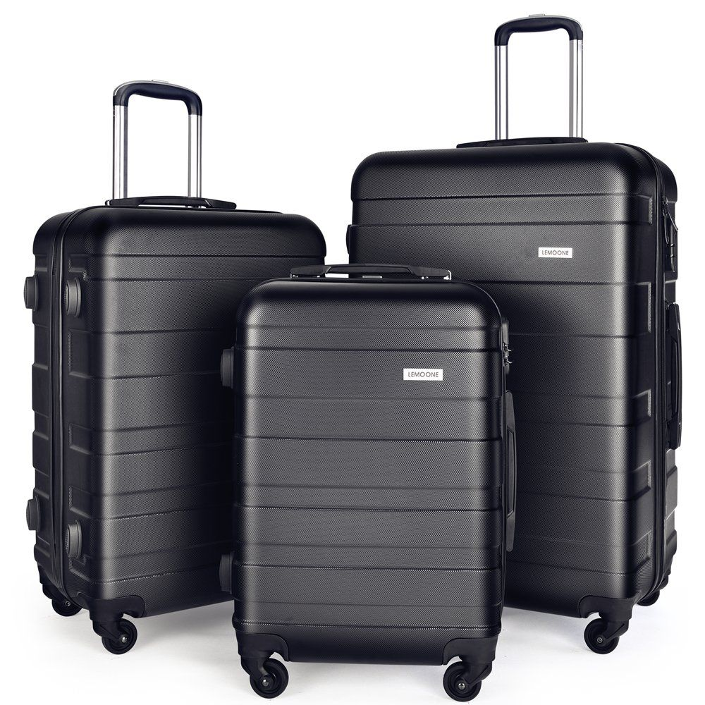 6ec089ae5fbc1a Luggage Set Spinner Trolley Suitcase Hard Shell Carry On 20″ 24″ 28″ (Black)